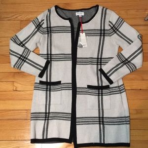 ELLE cream and plaid duster sweater w/ pockets